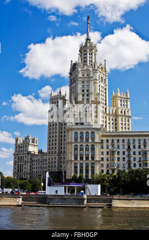 Moscow, highrise building on Kotelnicheskaya embankment, one of few famous highrise buildings of Stalin time, symbols of time. Stock Photo