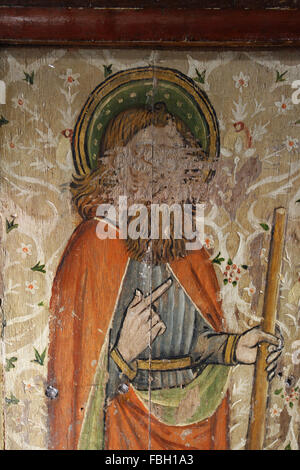 Painted Saint on the Rood Screen, Saint James the Less holding a Fuller's Club, much defaced, St Michael's Church, - Stock Photo