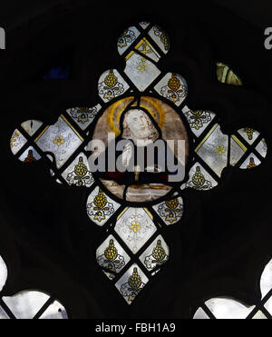 16th Century Stained Glass, depicting Jesus at the Last Supper, St Michael's Church, Irstead, Norfolk - Stock Photo
