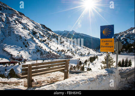 The Camino of Santiago when crossing the national road N330a between France and Spain in the Pyrenees in Candanchu - Stock Photo