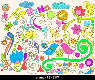 Colorful spring doodle with birds and flowers.
