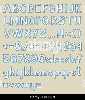 Hand drawn alphabet, upper and lower case and symbols. - Stock Photo