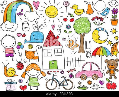 Collection of cute children's drawings of kids, animals, nature, objects - Stock Photo