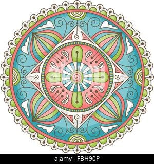 Colorful hand-drawn doodle mandala - Stock Photo