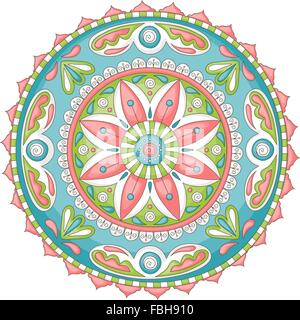 Detailed, colorful hand-drawn doodle mandala - Stock Photo