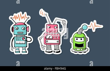 Set of three happy and cute cartoon robots - Stock Photo