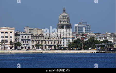 View of El Capitolio and Habana Vieja (Old Havana) skyline from Regla, Cuba - Stock Photo