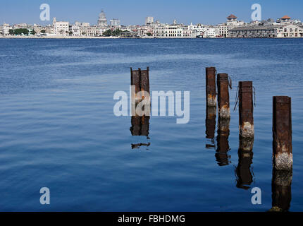 View of Habana Vieja (Old Havana) skyline from Regla, Cuba - Stock Photo