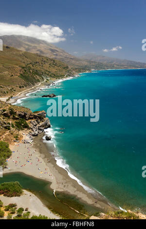 View of famous Preveli palm beach, Rethymno, southern Crete, Greece - Stock Photo