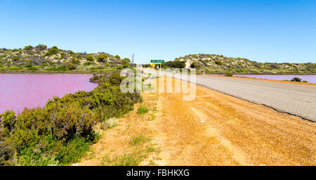 Hutt Lagoon is a pink lake which boasts a pink hue created by presence of carotenoid-producing algae Dunaliella - Stock Photo