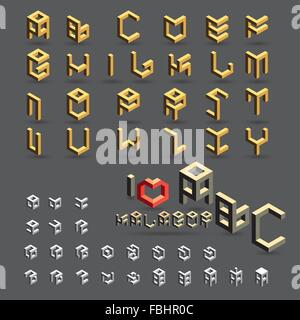 cubic, geometric font, symbol, icon and logo set - Stock Photo