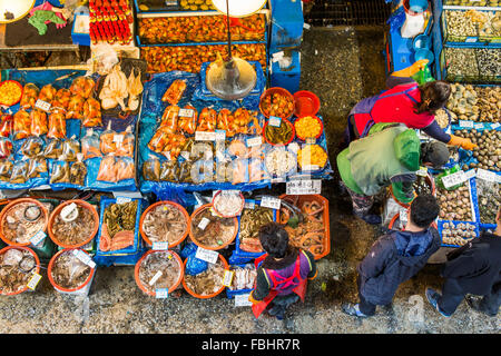 SEOUL - MAR 28: Aerial view of shoppers at Noryangjin Fisheries Wholesale Market March 28, 2015 in Seoul, South - Stock Photo