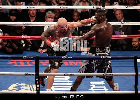 Brooklyn, New York, USA. 17th Jan, 2016. DEONTAY WILDER (silver trunks) and ARTUR SZPILKA battle in an WBC heavyweight - Stock Photo