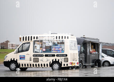 Deserted Ice Cream and fast food Van pictured during a rainy Bank Holiday on Crosby Promenade. Merseyside. - Stock Photo