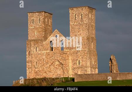 Reculver Towers, near Herne Bay, Kent, England, UK. - Stock Photo