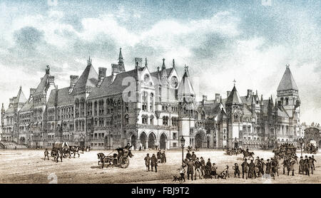 The Royal Courts of Justice building on the Strand in central London, England, 1882 - Stock Photo