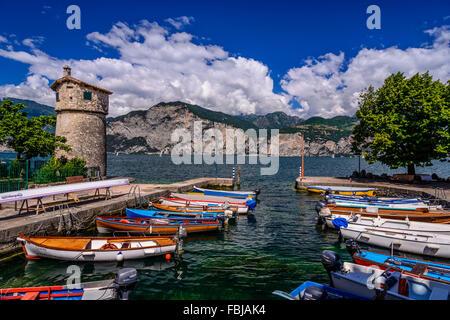 Italy, Veneto, Lake Garda, Cassone di Malcesine, harbour - Stock Photo