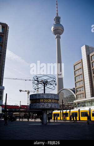 Urania world time clock, Alexanderplatz, Berlin Mitte - Stock Photo