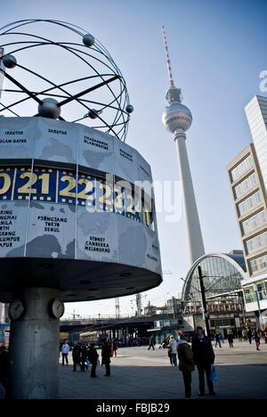 Urania world time clock, Alexanderplatz, Berlin Mitte - Stock Photo