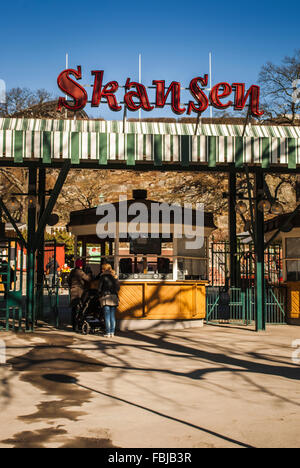 Main entrance, Skansen, open-air museum, Stockholm - Stock Photo