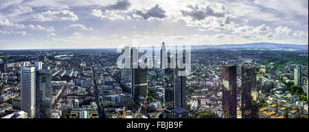 Panoramic view from the Main Tower, Frankfurt on the Main, Germany - Stock Photo