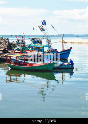several fishing boats, reflections in the water, harbour, Phú Quoc, Vietnam - Stock Photo