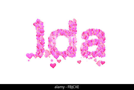 Name set with hearts decorative lettering type design - Stock Photo