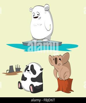 Set of animals losing their homes. Polar bear, panda and a koala. - Stock Photo