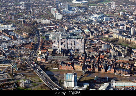 aerial view of Hull city centre, Marina, Tidal Barrier, River Hull, UK - Stock Photo