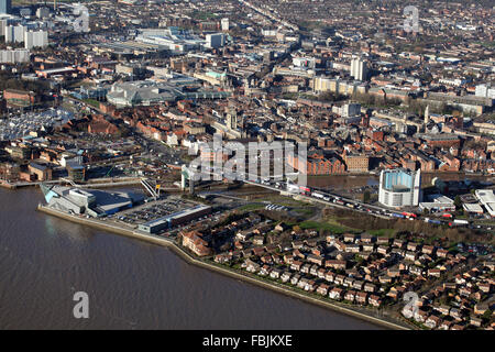 aerial view of Hull city centre, Marina, Tidal Barrier, River Hull, The Deep, UK - Stock Photo