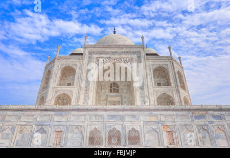 Low Angle View from Side of the Great Taj Mahal, Agra, India - Stock Photo
