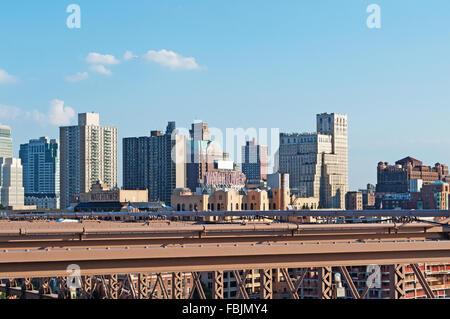 New York, United States of America: Brooklyn skyline seen from Brooklyn bridge - Stock Photo