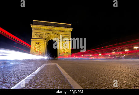 The historical Arc de Triomphe, Paris, France - Stock Photo