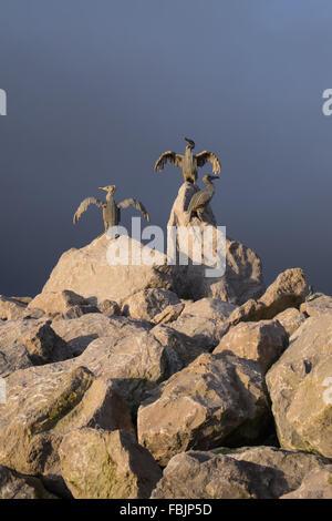 Stone bird statues at the stone jetty. Morecambe Bay Lancashire England - Stock Photo