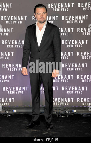Rome, Italy. 15th Jan, 2016. Leonardo DiCaprio attending ths premiere of 'The Revenant' at Huse of Cinema in Rome - Stock Photo