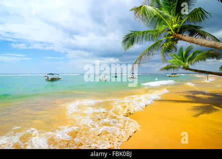 Boats in the ocean near sandy beach and palm trees - Stock Photo