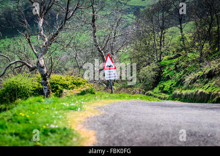 Road liable to Subsidence road warning sign - Stock Photo
