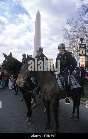 Washington, DC., USA,6th November, 1990 U.S. Park Police horse mounted officers at Pro-Choice Rally. The United - Stock Photo