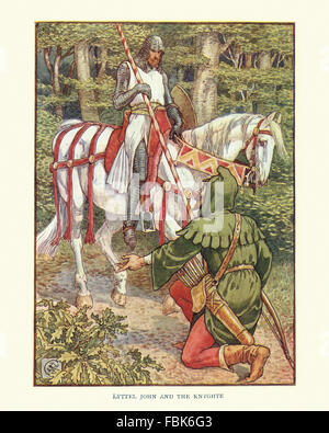 Illustration from the story of Robin Hood.  Little John and the Knight. By Walter Crane - Stock Photo