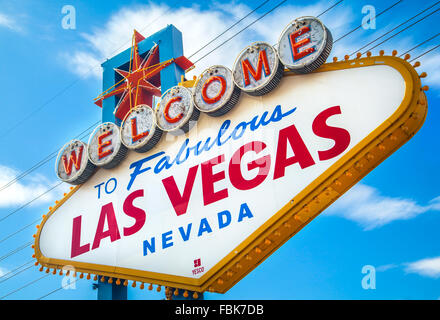 Famous 'Welcome to fabulous Las Vegas, Sign, on the Strip. - Stock Photo