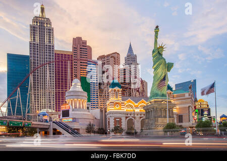 Evening at the New York New York Hotel and Casino, Las Vegas - Stock Photo