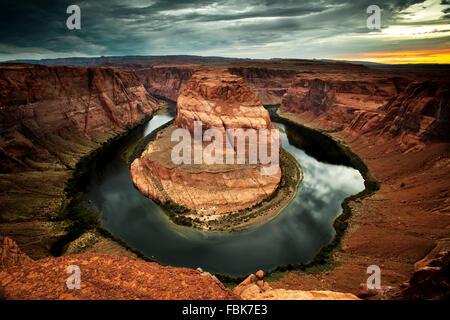 Horseshoe Bend, Colorado River near Page, Arizona - Stock Photo