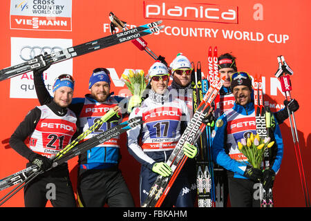 (160118) -- PLANICA, Jan. 18, 2016 (Xinhua) -- (L-R)Second placed Jay Renaud and Baptiste Gros of France, winners - Stock Photo
