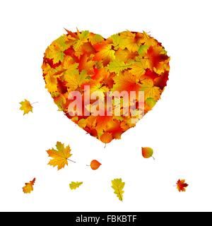 Heart shape made from autumn leaf. EPS 8 - Stock Photo