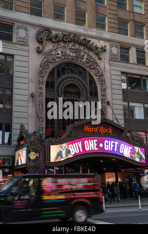 The Paramount Building at 1501 Broadway in Times Square used to house the Paramount Theater, now Hard Rock Cafe - Stock Photo