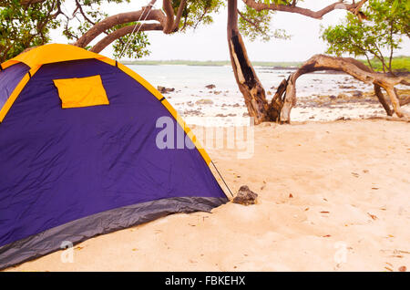 ... Small c&site with a two person tent setup in sand on beautiful beach pacific ocean & Small campsite with a two person tent setup in sand on beautiful ...