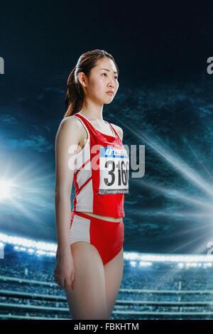 Japanese female high jump athlete Stock Photo