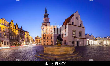 Night view of Poznan Old Market Square in western Poland. Panoramic montage from 5 HDR images - Stock Photo