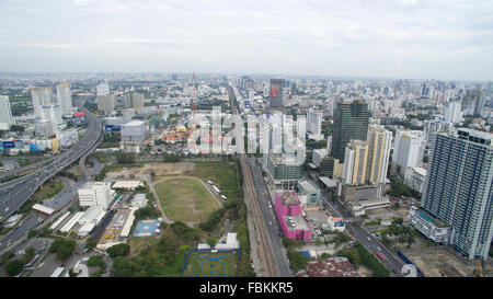 A aerial view from Makkasan airport rail link station in Bangkok, Thailand looking east. - Stock Photo