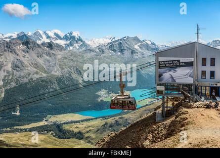 Piz Nair Funicular, St.Moritz, Grisons, Switzerland | Piz Nair Seilbahn, St.Moritz, Schweiz - Stock Photo